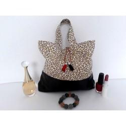 Trousse de toilette femme simili cuir noir, coton léopard