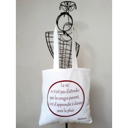 Tote bag femme, citation La Vie