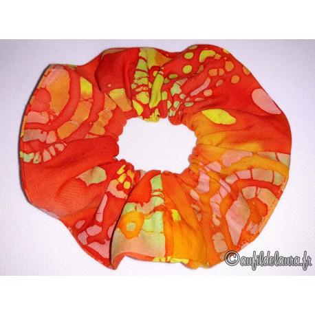 Chouchou cheveux orange à motifs