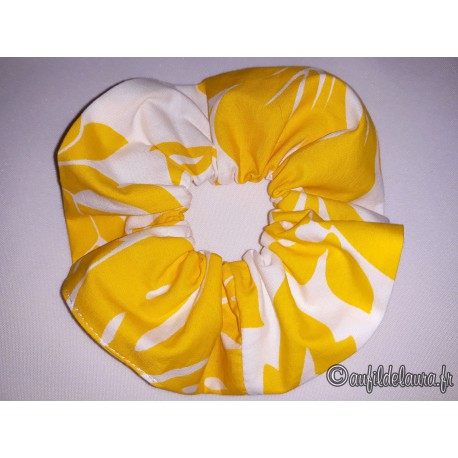 Chouchou cheveux hibiscus jaune