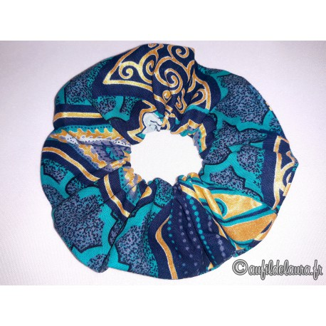 Chouchou cheveux wax bleu sarcelle/or