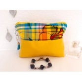 Trousse maquillage simili cuir jaune, madras exotique