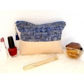 Trousse maquillage suédine crème, coton ethnique bleu