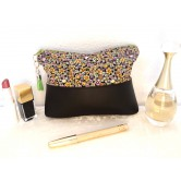 Trousse maquillage simili cuir grainé noir, liberty