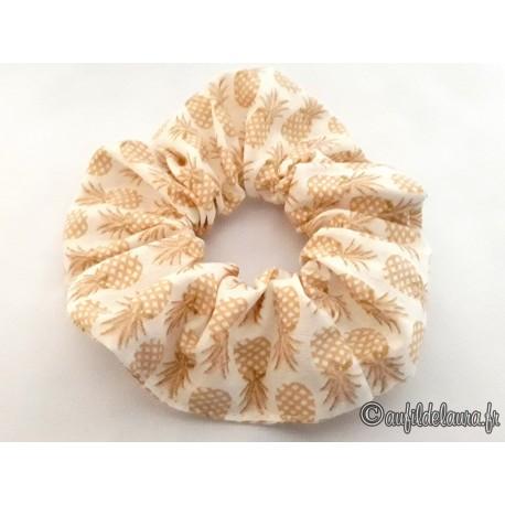 Chouchou cheveux ananas beiges scintillants
