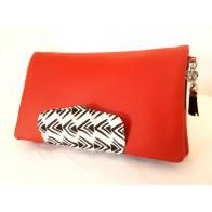 Portefeuille femme simili cuir rouge, coton ethnique noir et blanc