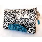 Portefeuille femme simili léopard, coton zèbre bleu