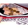 Portefeuille femme simili cuir rouge foncé, coton zèbre - Compartiment billets
