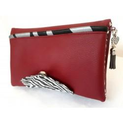 Portefeuille femme simili cuir rouge foncé, coton zèbre