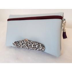 Portefeuille femme simili cuir bleu clair, coton léopard