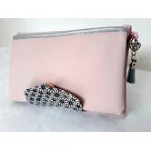Portefeuille femme simili rose clair, coton japonais