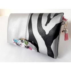 Portefeuille femme simili zèbre et gris argenté, coton rétro
