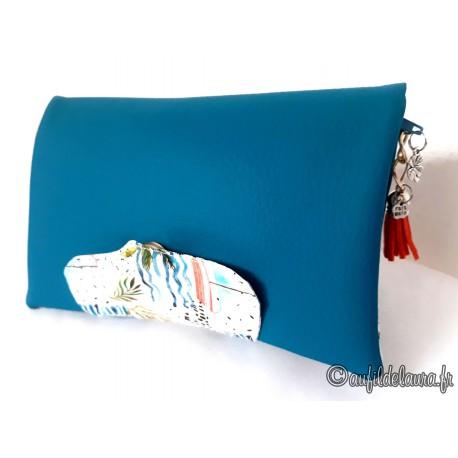 Portefeuille femme simili cuir bleu canard, coton imprimé voiliers