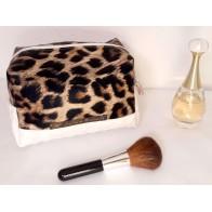 Trousse maquillage cube XXL simili cuir panier blanc/léopard