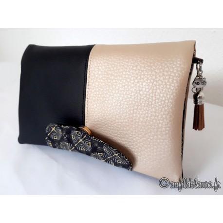 Portefeuille femme simili cuir grainé noir et doré