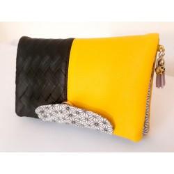 Portefeuille femme simili cuir tressé noir et jaune citron