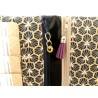 Portefeuille femme simili cuir prune et imprimé fourrure de léopard - Breloques déco