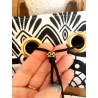 Sac ethnique suédine camel, wax noir et blanc, simili cuir tressé - Perle strass & ruban