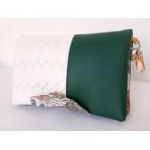 Portefeuille femme simili cuir panier blanc et grainé vert