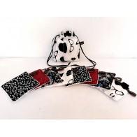 Lingette démaquillante lavable coton imprimé noir et rouge