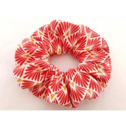 Chouchou cheveux coton japonais éventails rouges