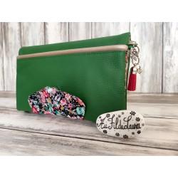 Portefeuille femme simili cuir vert, coton fleuri