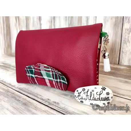 Portefeuille femme simili rouge foncé, tartan écossais