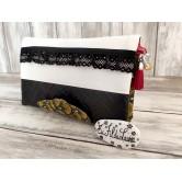 Portefeuille femme simili cuir panier noir&blanc, dentelle, coton japonais
