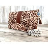 Portefeuille femme simili cuir léopard, coton zèbre marron