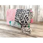 Portefeuille femme simili léopard et dragon rose, coton feuillage