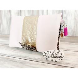Portefeuille femme simili cuir rose clair et miroir doré