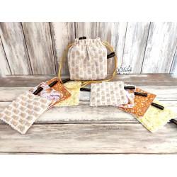 Lingette démaquillante lavable ananas scintillants et petites fleurs de citronnier