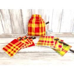 Lingette démaquillante lavable madras rouge et jaune