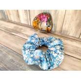 Chouchou cheveux fleurs bleues