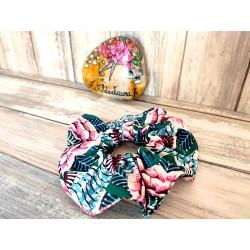 Chouchou cheveux grandes fleurs rose et turquoise