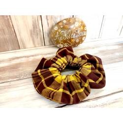 Chouchou cheveux madras jaune et marron