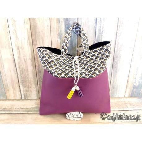 Trousse de toilette femme simili cuir violet, coton japonais