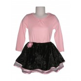 Jupe velours noir doublée de tulle rose