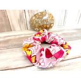 Chouchou fille fleuri rose