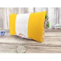 Portefeuille femme simili cuir jaune et blanc