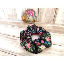 Chouchou cheveux noir à fleurs