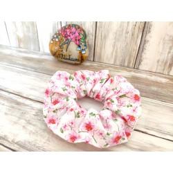 Chouchou cheveux petites fleurs roses