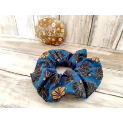 Chouchou cheveux bleu nuit, motifs ocres