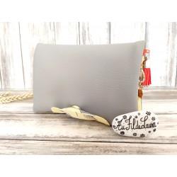 Portefeuille femme simili cuir gris, coton imprimé feuilles de ginkgo