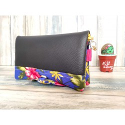 Portefeuille femme simili cuir grainé noir, coton imprimé fleur d'hibiscus