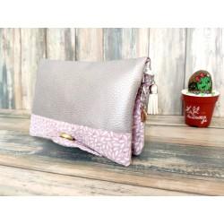 Portefeuille femme simili cuir argenté, coton imprimé grain de riz rose