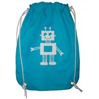 Sac Pochon Robot Bleu