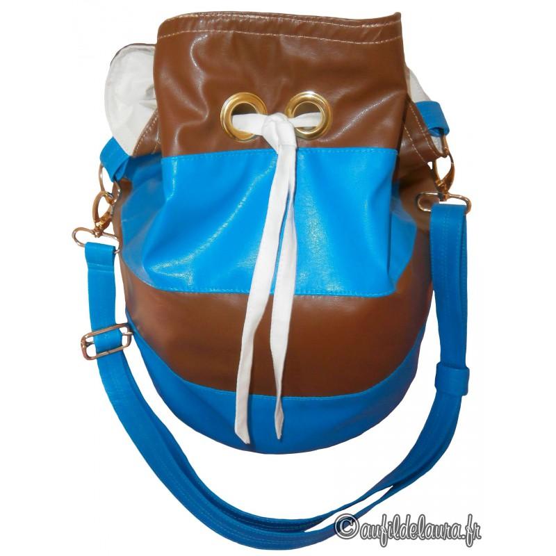 Sac à Main Bleu Azur : Sac seau simili cuir bleu azur chameau aufildelaura