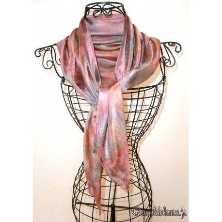 1caa99abf563 Foulard mousseline de soie gris rose perlé - Aufildelaura