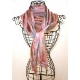 Foulard mousseline de soie gris/rose perlé